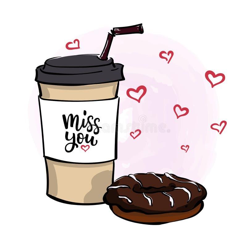Vector el ejemplo con café para ir taza, buñuelo del chocolate, le libre illustration