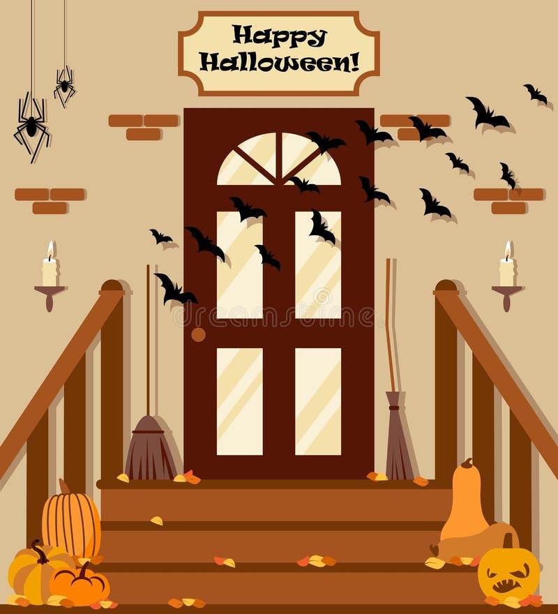 Vector el ejemplo con el patio trasero, escaleras, calabazas, palo en estilo plano stock de ilustración