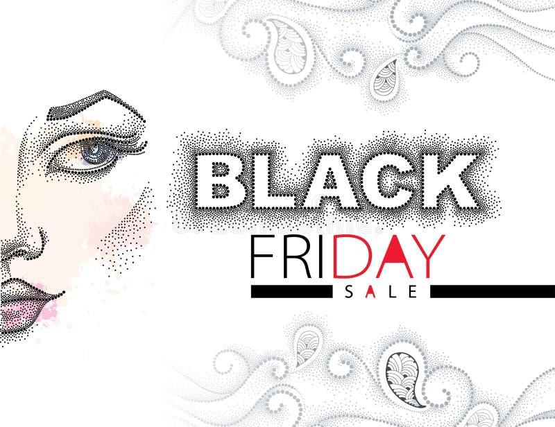 Vector el ejemplo con el texto punteado de la venta de Black Friday en negro y rojo, los remolinos y la cara punteada mitad de la ilustración del vector