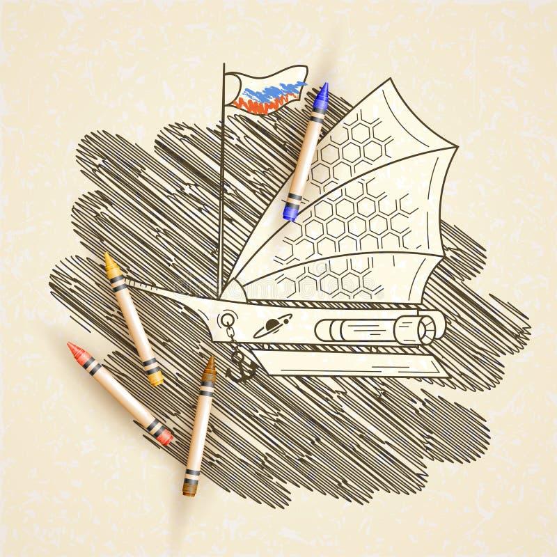 Vector el ejemplo con el velero del espacio en el fondo de estrellas stock de ilustración