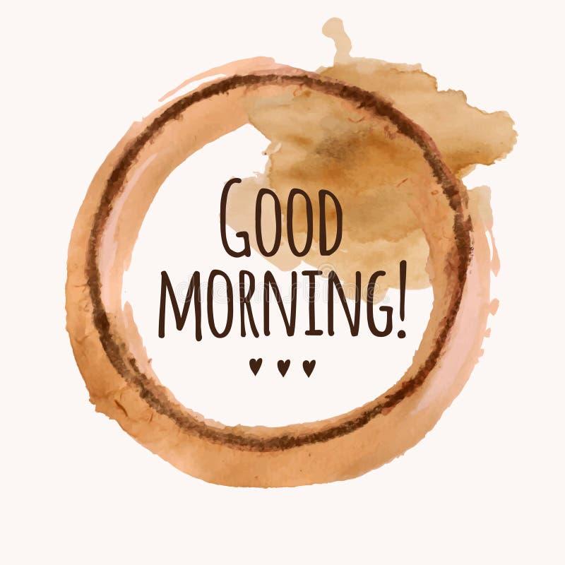 Vector el ejemplo con frase del ` de la buena mañana del ` y vierta la mancha blanca /negra del café ilustración del vector