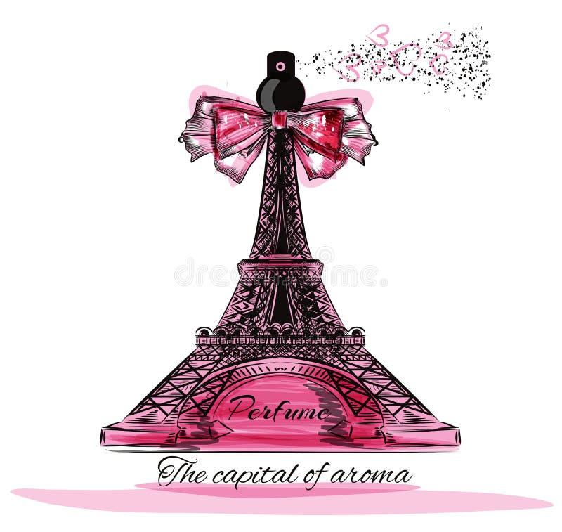 Vector el ejemplo con la botella de perfume en la forma de la torre de Eifel stock de ilustración