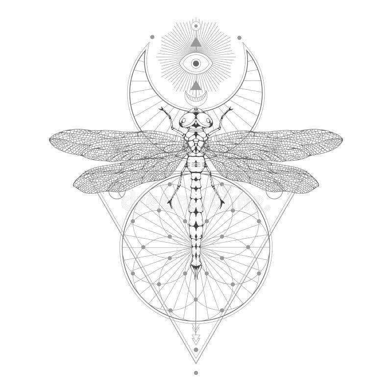 Vector el ejemplo con la libélula dibujada mano y el símbolo geométrico sagrado en el fondo blanco Muestra mística abstracta ilustración del vector