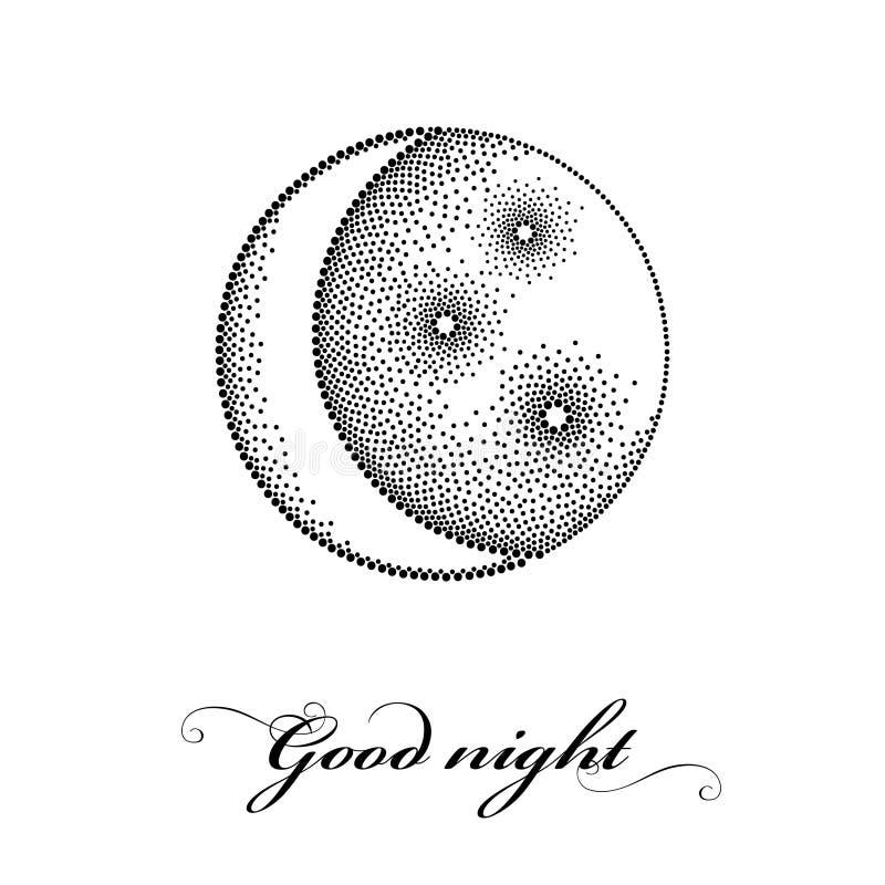 Vector el ejemplo con la media luna estilizada punteada con la estrella en negro aislada en el fondo blanco Símbolos de la astron libre illustration