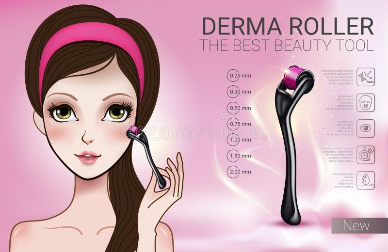 Vector el ejemplo con la muchacha del estilo de Manga y el rodillo del derma ilustración del vector