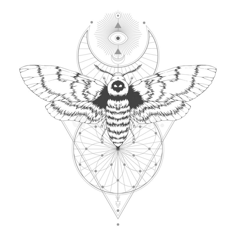 Vector el ejemplo con la polilla dibujada mano de la cabeza muerta y el símbolo geométrico sagrado en el fondo blanco Muestra mís stock de ilustración