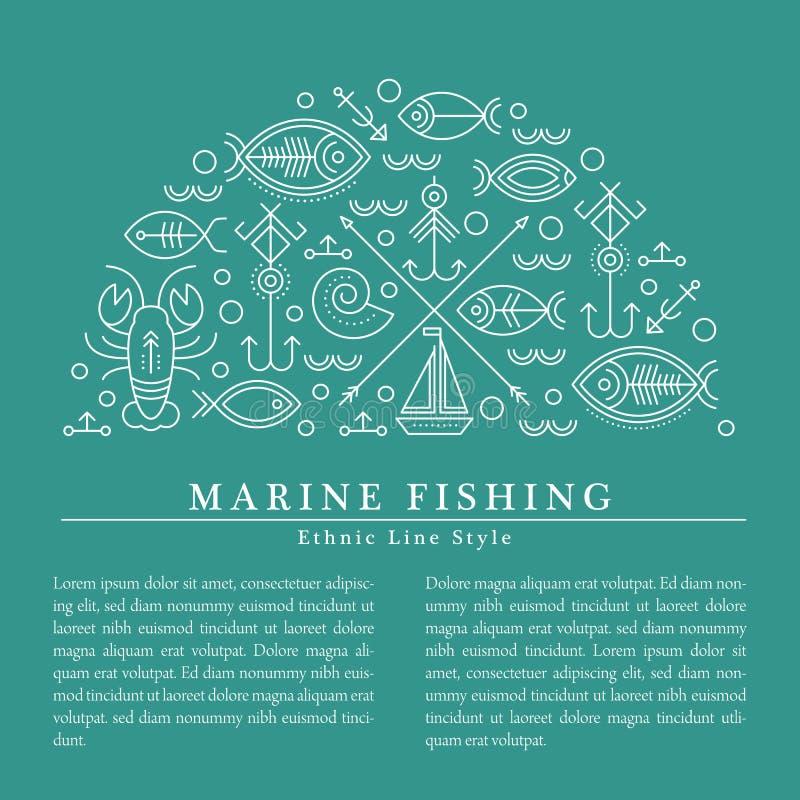 Vector el ejemplo con las muestras náuticas y de la pesca resumidas que forman un semi-círculo libre illustration