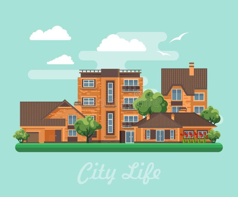 Vector el ejemplo con los edificios, la casa separada, la casa adosada, la casa de planta baja, la mansión, el edificio alto y la libre illustration