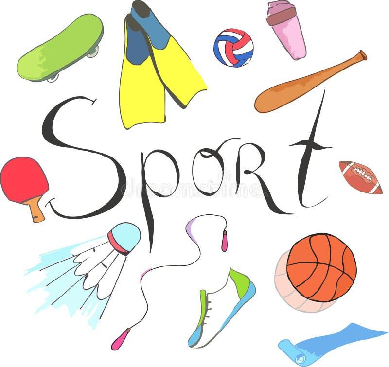 Vector el ejemplo con los iconos de la aptitud en estilo handdrawn Modelo del garabato del deporte y de la aptitud libre illustration