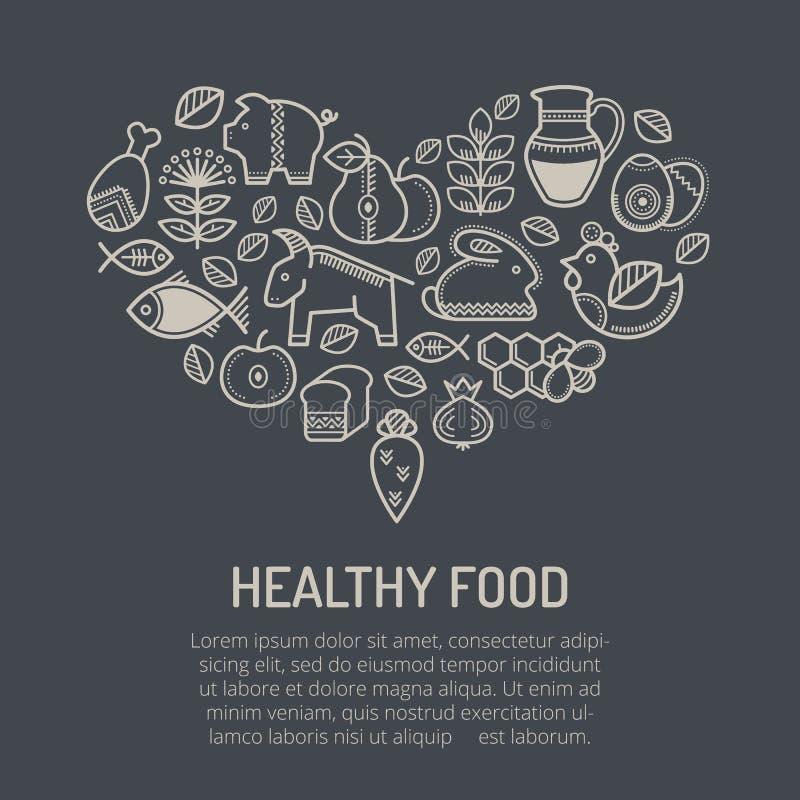 Vector el ejemplo con los iconos resumidos de la comida que forman una forma del corazón ilustración del vector