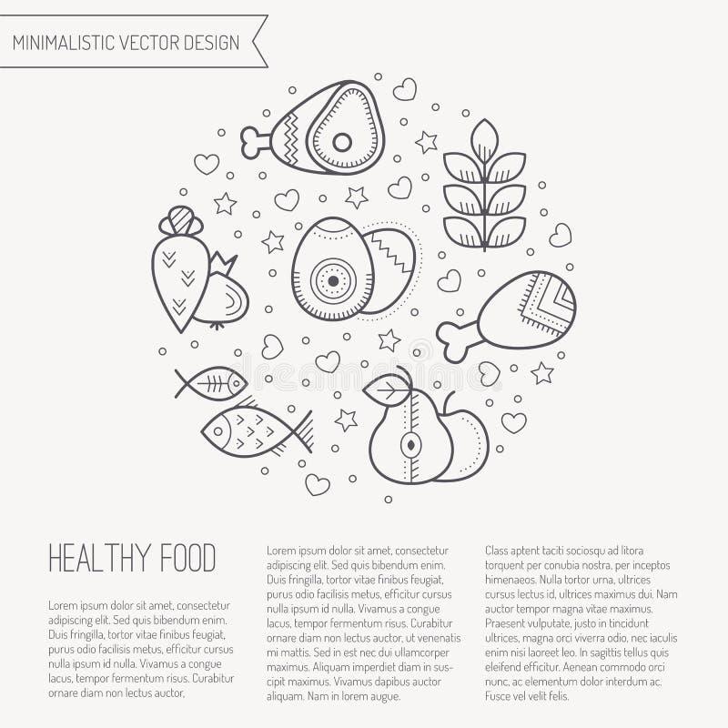 Vector el ejemplo con los iconos sanos resumidos de la comida que forman un círculo libre illustration