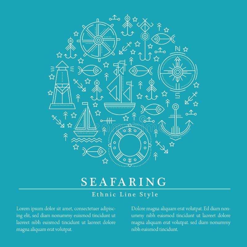 Vector el ejemplo con marinería resumida y las muestras náuticas ilustración del vector