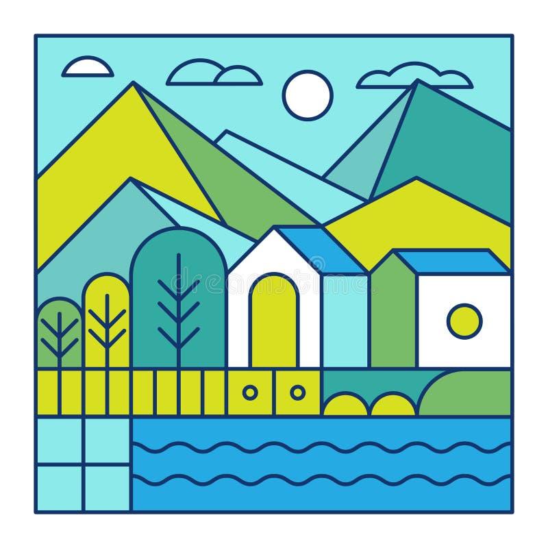 Vector el ejemplo con paisaje de la ciudad en estilo linear de moda ilustración del vector