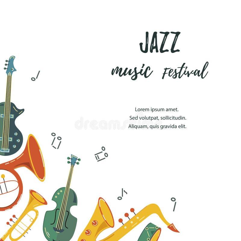 Vector el ejemplo con el saxofón, guitarra, violín, trompa, tambor ilustración del vector