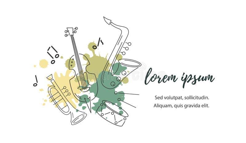 Vector el ejemplo con el saxofón, el violín, la trompeta y el tambor ilustración del vector