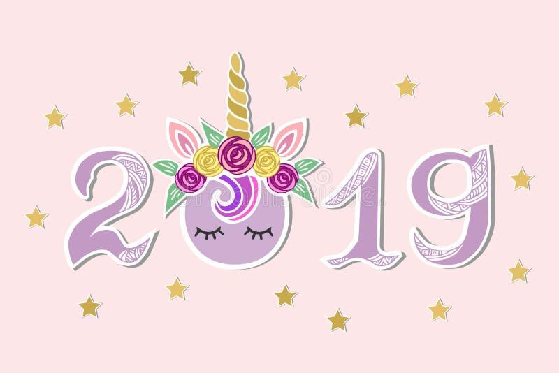 Vector el ejemplo con 2019, Unicorn Tiara y los ojos como postal de la Feliz Año Nuevo ilustración del vector