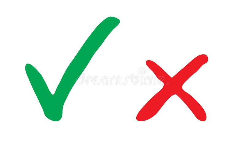 Vector el ejemplo con y roja marca de verificación sucia dibujada la mano verde Icono verde de la marca de verificación stock de ilustración