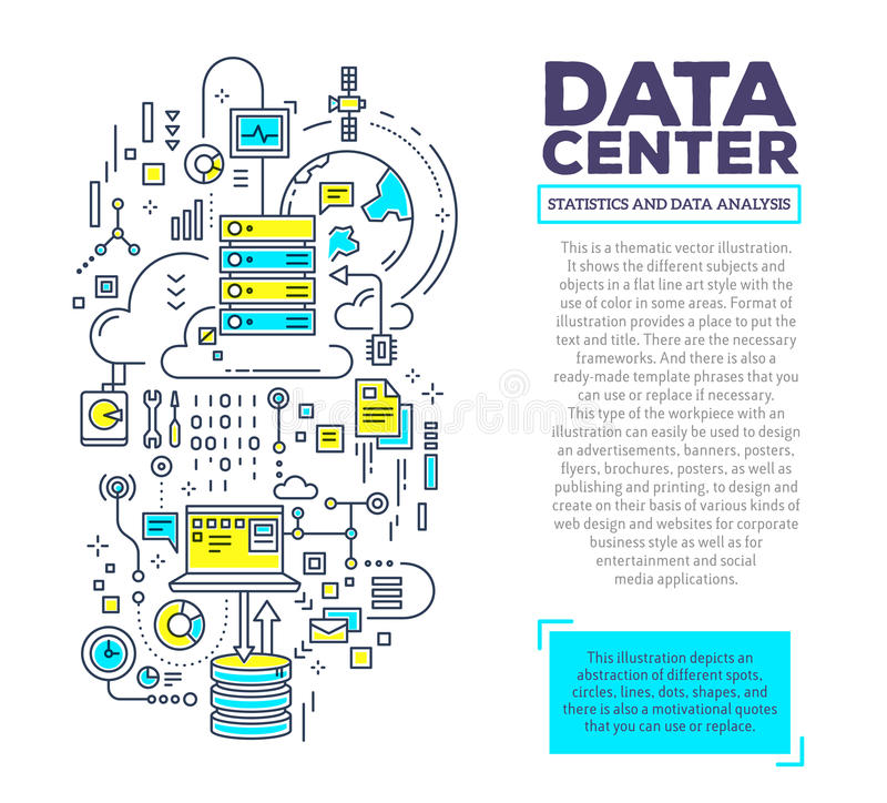 Vector el ejemplo creativo del concepto del centro de datos con el jefe ilustración del vector