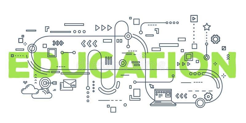 Vector el ejemplo creativo del typogra de las letras de la palabra de la educación stock de ilustración