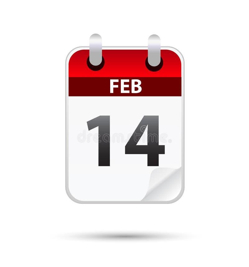 Vector el ejemplo de 14' fecha de febrero del th ilustración del vector