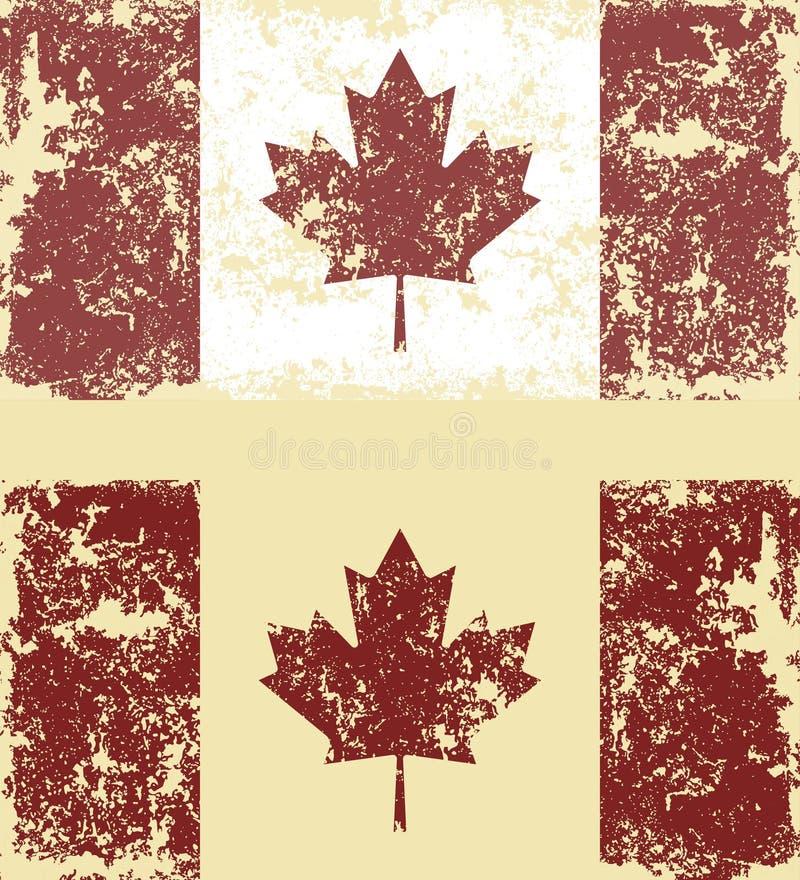 Vector el ejemplo de banderas rasguñadas viejas de Canadá ilustración del vector