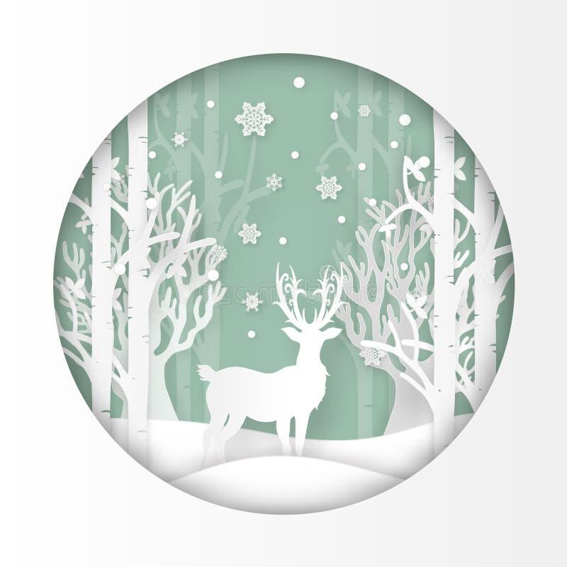 Vector el ejemplo de ciervos en bosque con nieve en la estación y la Navidad del invierno Arte y artes de papel del diseño libre illustration