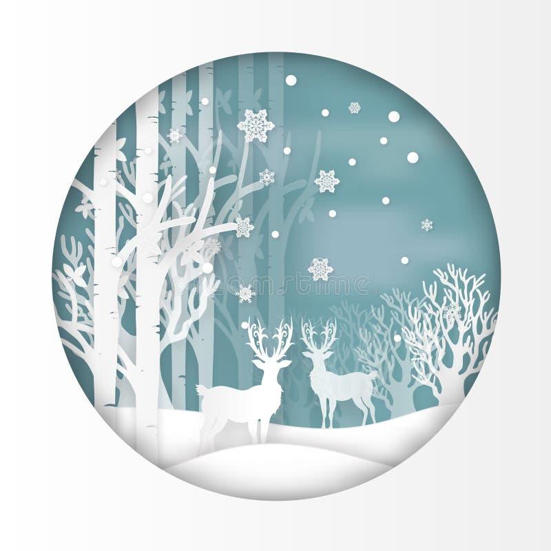 Vector el ejemplo de ciervos en bosque con nieve en la estación y la Navidad del invierno Arte y artes de papel del diseño ilustración del vector