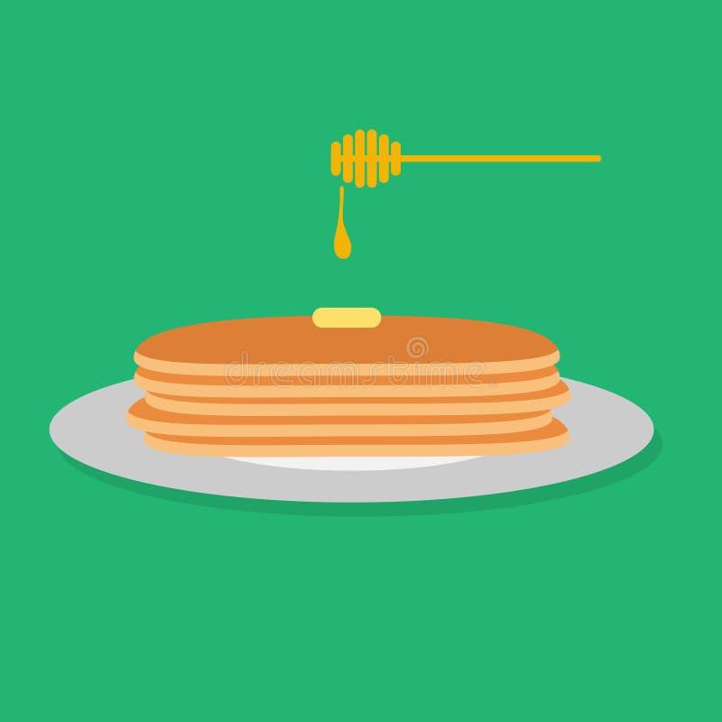 Vector el ejemplo de crepes con la miel y la mantequilla foto de archivo libre de regalías