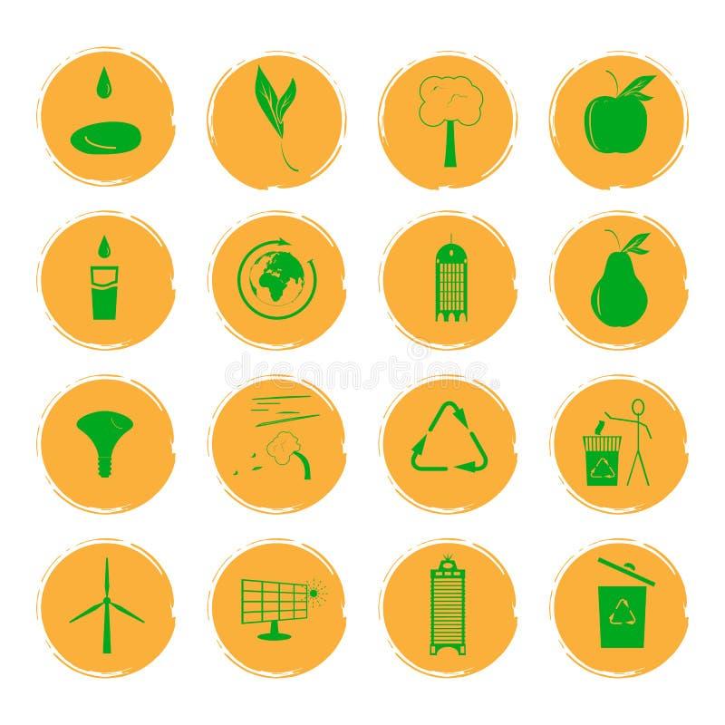 Vector el ejemplo de dieciséis iconos amarillos del grunge con las imágenes verdes que ilustran el concepto de una ciudad respetu libre illustration