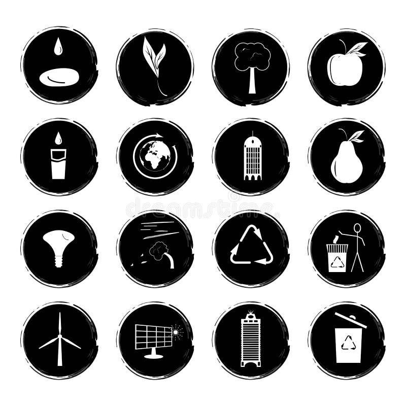 Vector el ejemplo de dieciséis iconos blancos y negros del grunge que ilustran el concepto de una ciudad respetuosa del medio amb libre illustration