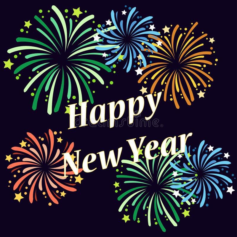 Vector el ejemplo de diversos fuegos artificiales en el ` s Eve del Año Nuevo ilustración del vector