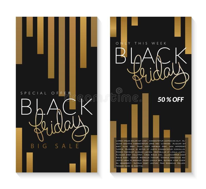 Vector el ejemplo de dos banderas negras de viernes con la mano que pone letras a la palabra de oro - viernes en fondo rayado de  stock de ilustración