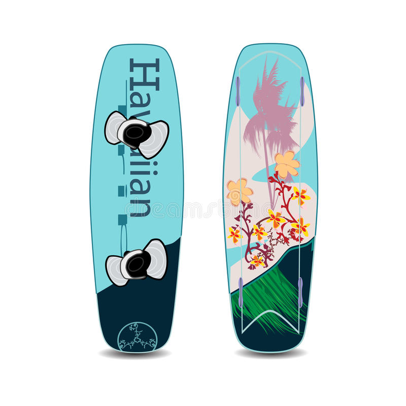 Vector el ejemplo de dos lados de wakeboard en estilo plano libre illustration