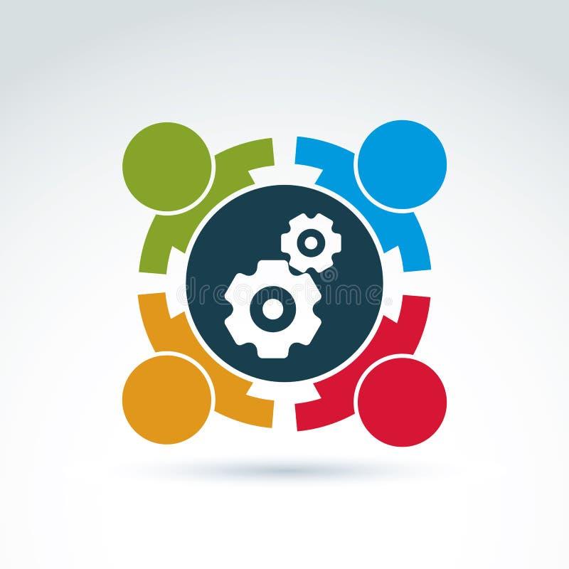 Vector el ejemplo de engranajes, tema del sistema de la empresa libre illustration