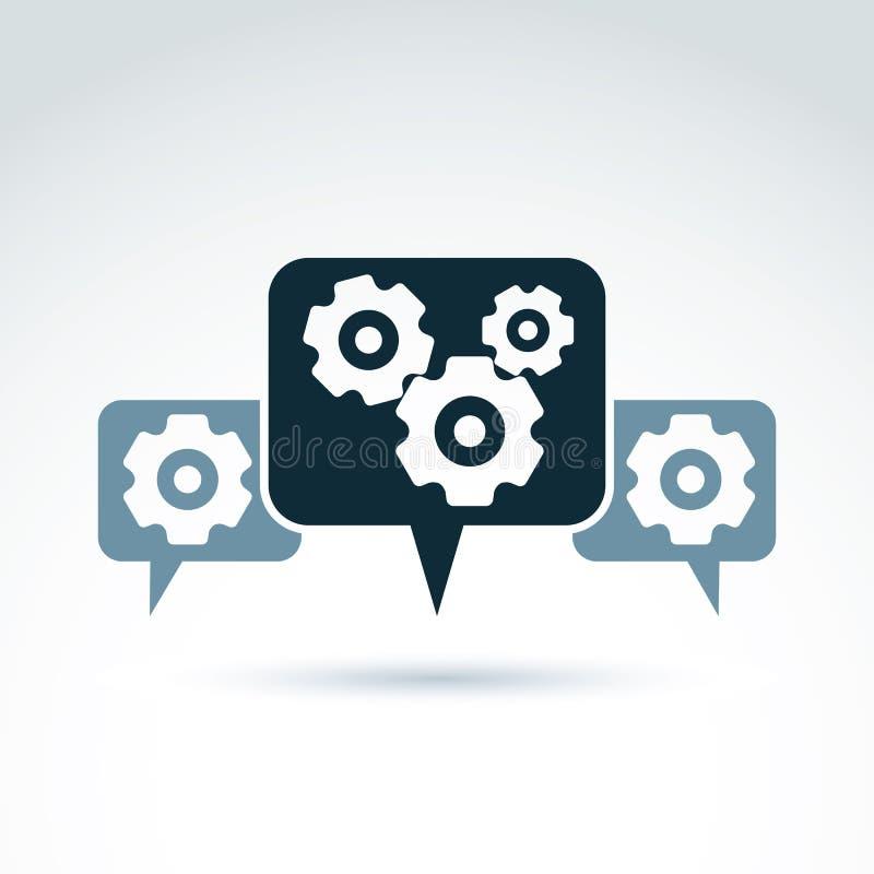 Vector el ejemplo de engranajes - tema del sistema de la empresa, organiza stock de ilustración