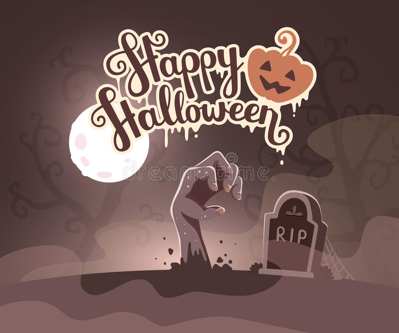 Vector el ejemplo de Halloween de la mano del zombi en un cementerio con stock de ilustración