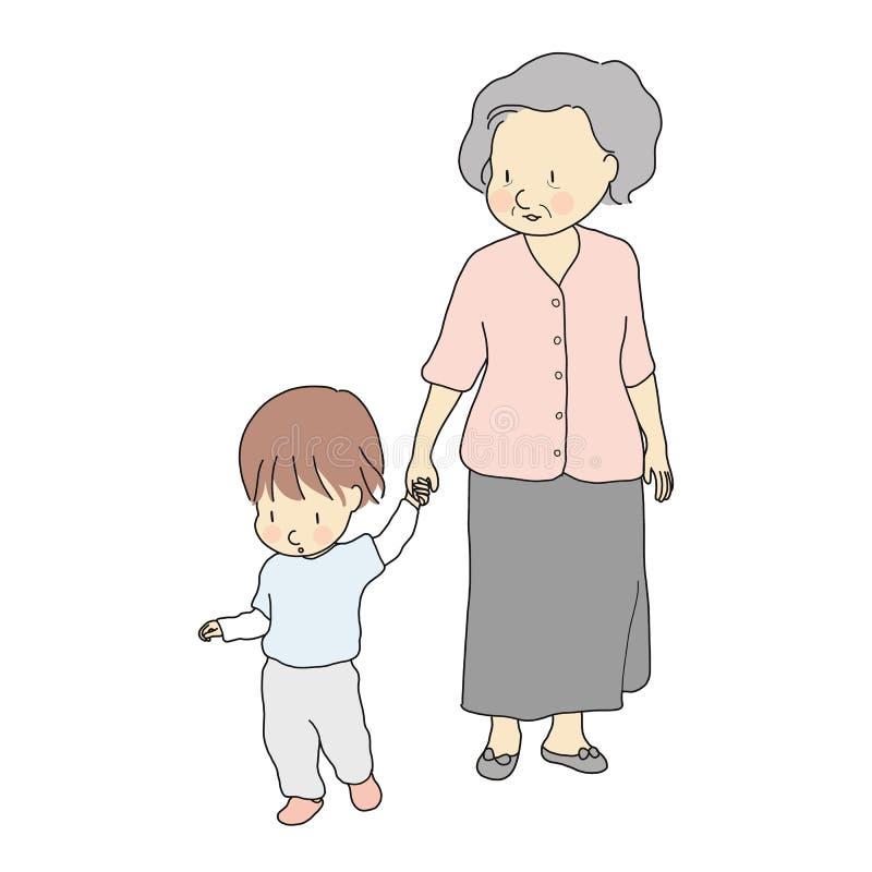 Vector el ejemplo de la abuela feliz que celebra la mano del niño y que camina junto Desarrollo en la primera infancia, familia,  ilustración del vector