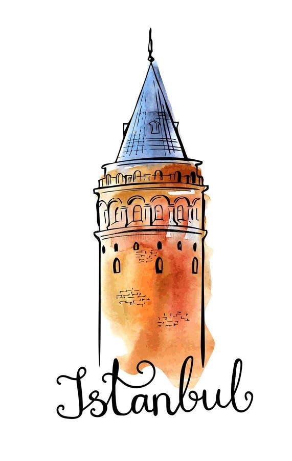Vector el ejemplo de la acuarela con la torre de Galata en Estambul stock de ilustración