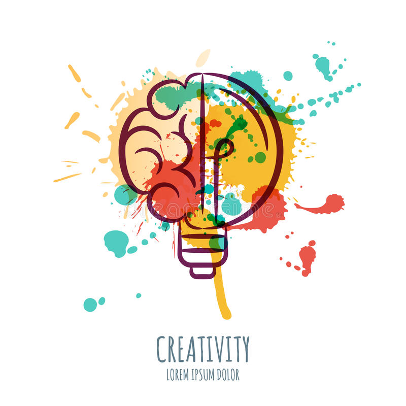 Vector el ejemplo de la acuarela del cerebro y de la bombilla Fondo abstracto de la acuarela con el cerebro humano y el bulbo stock de ilustración