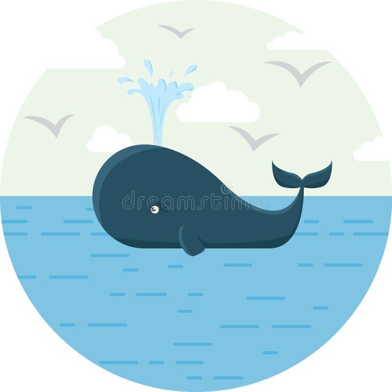 Vector el ejemplo de la ballena azul con el mar redondo fotografía de archivo