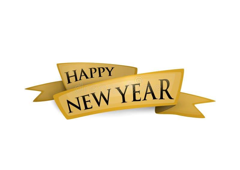 Vector el ejemplo de la bandera de oro de la cinta de la Feliz Año Nuevo aislada stock de ilustración