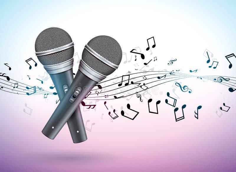 Vector el ejemplo de la bandera en un tema musical con los micrófonos y las notas que caen sobre el fondo violeta Modelo del dise libre illustration