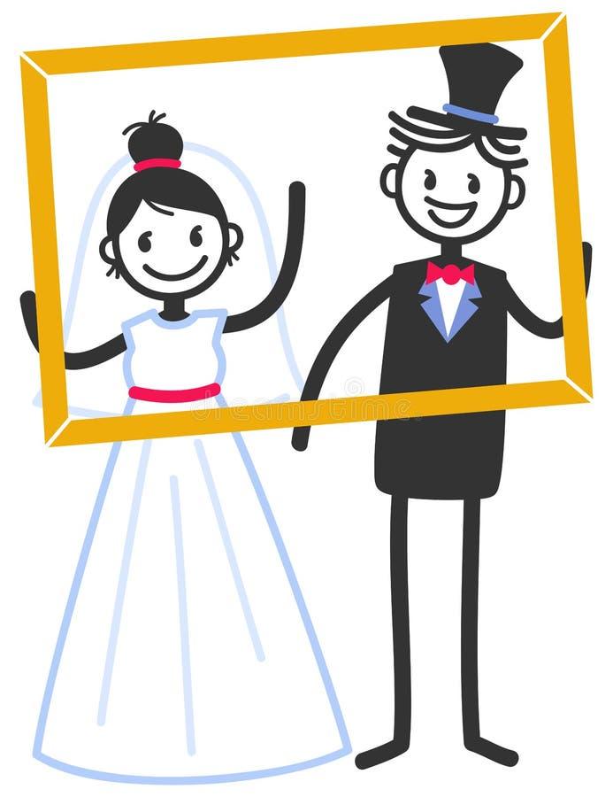 Vector el ejemplo de la boda de las figuras lindas pares nupciales del palillo que colocan el marco interior ilustración del vector