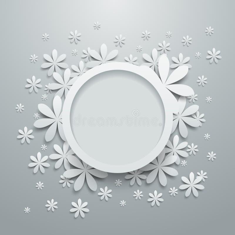 Burbuja del discurso con las flores de papel ilustración del vector