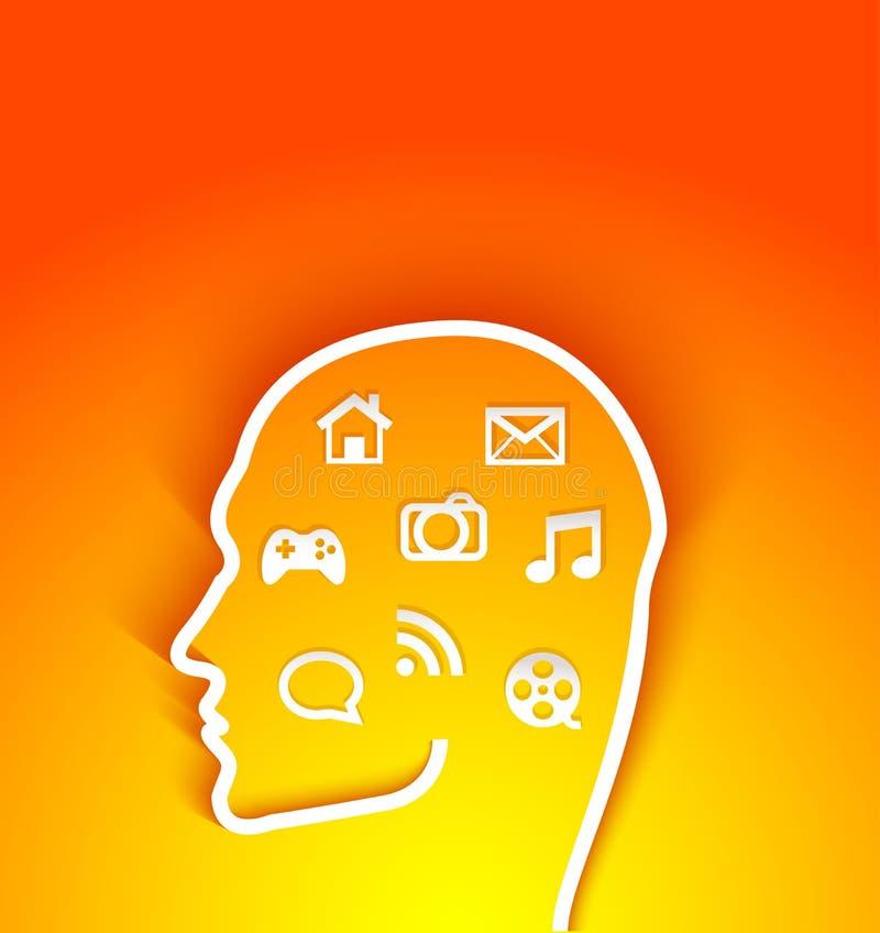 Vector el ejemplo de la cabeza humana con los iconos de las multimedias stock de ilustración