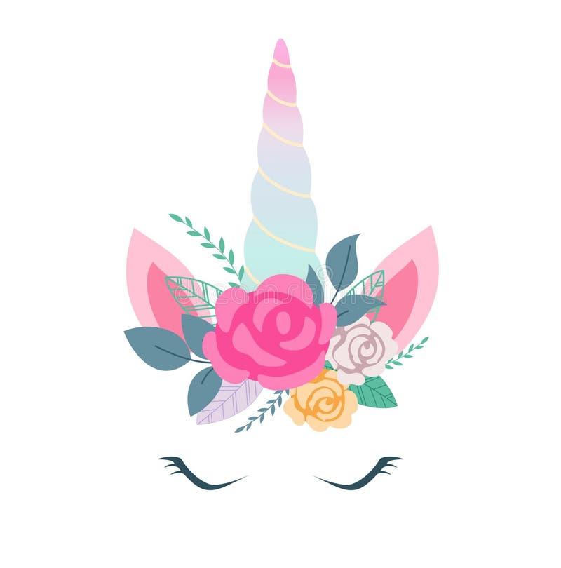 Vector el ejemplo de la cara linda del unicornio con las flores Diseñe el elemento para las tarjetas de cumpleaños, invitaciones  ilustración del vector