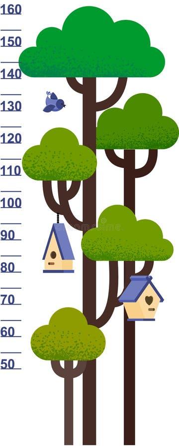 Vector el ejemplo de la carta de la altura de los niños con el árbol y nidal stock de ilustración