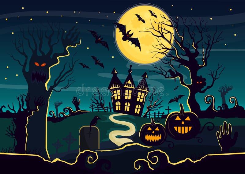 Vector el ejemplo de la casa del misterio con las linternas y las criaturas de la calabaza adornadas para Halloween Tarjeta de Ha stock de ilustración