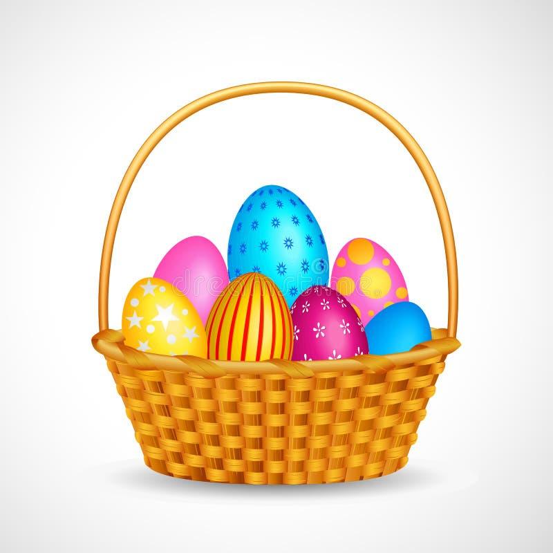 Cesta por completo de huevo de Pascua colorido stock de ilustración