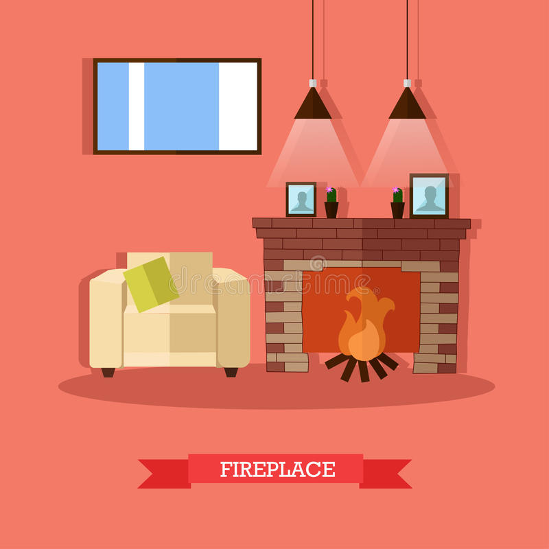 Vector el ejemplo de la chimenea, elemento del diseño interior del hogar, estilo plano ilustración del vector